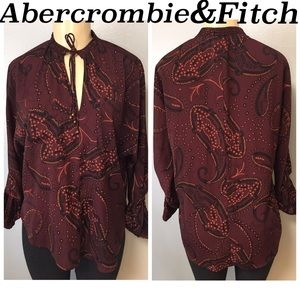 Abercrombie fitch Womens Printed Silky Top Blouse